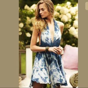 Anthoropolgie Loveshackfancy Indigo Silk Dress Med